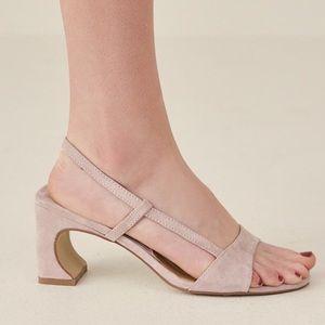Jaggar Concave Heel Suede Sandal Oyster Pink 8 39